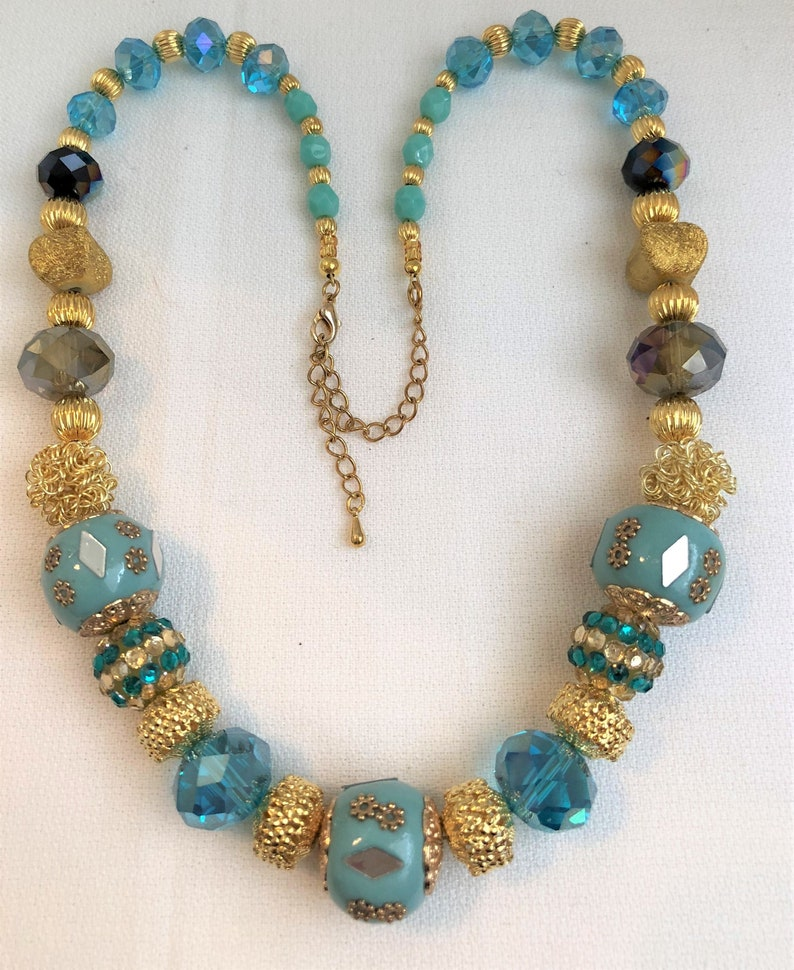 Chunky Aqua and Gold Handmade Jewelry Statement Necklace image 0