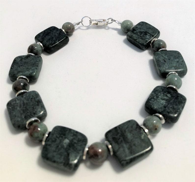 Mens Handmade Jewelry Bracelet Green Marble Fancy Jasper image 0