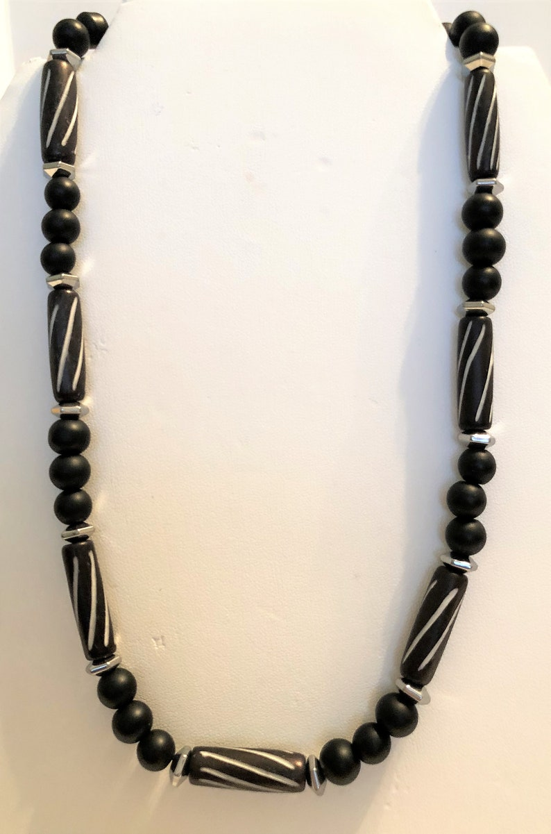 Men's Necklace Handmade Jewelry Black Bone Beads Silver image 0
