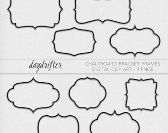 rectangle bracket frame. Instant Download Chalkboard Bracket Frames - Curly Photo Overlay Photography Printable Digital Clip Art PNGs -- Commercial Use Rectangle Frame E