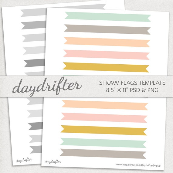 customizable straw flags cupcake toppers template diy etsy