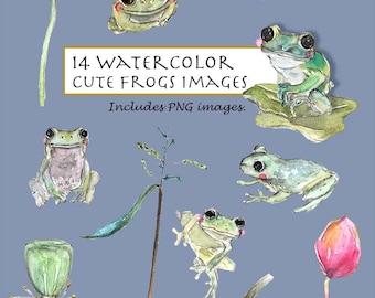 CLIP ART- Watercolor Cute Frogs & Plants Set. 14 Images. Digital Download. Frogs. Big Eyes. Garden. Green Creature. Leaves.