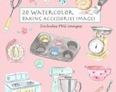 CLIP ART- Watercolor Vintage Baking Accessories Set. 20 Images. Digital Download. Life Accessories. Baking. Kitchen.