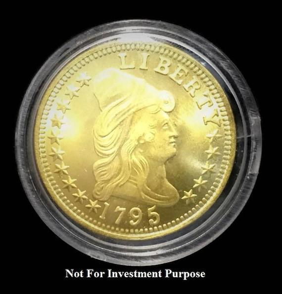 Replica 1795- 10 Dollar 24K Gold Clad Draped Bust, Eagle BU/UNC