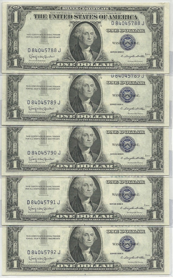 Set Of 5 1935 H Blue Seal Silver Certificate Note 5 Etsy