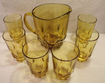 Hazel Atlas Thumbprint ATC7 Amber Glass Pitcher set with 6 Glasses