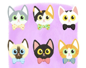Cats and Bowties Art Print