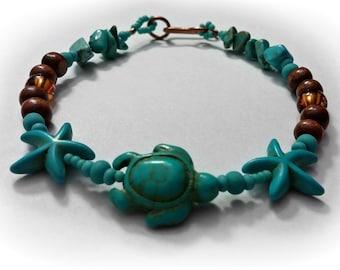 Turtle Bracelet, Turquoise Bracelet, Sea Turtle Bracelet, Starfish Bracelet, Sea Animal Bracelet, Copper Bracelet, Boho, ANIMAL Collection