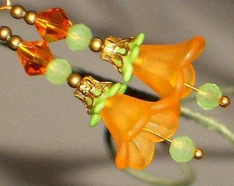 Bell Flower Earrings, Dangle Earrings, Orange Flower Earrings, Gold Earrings, Orange, Lime, Green, Gold Flower Earring, BOTANICAL Collection