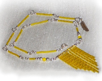 Yellow Necklace, Seed Bead Fringe Necklace, Lemon Yellow And Silver, Tassel Necklace, Bohemian Necklace, Bright Necklace, SILVER Collection