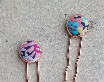 Hair pins with Liberty of London fabric