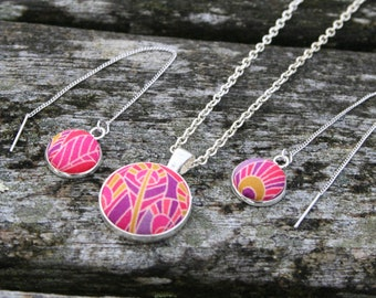 Necklace and earings set with Liberty of London fabric