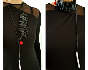 Statement necklace Bib necklace Unusual necklace Avant-garde necklaces 2in1 necklace Contemporary necklace African necklace Modern necklace