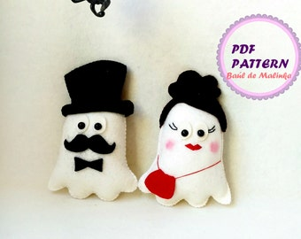 Halloween ghost ornament felt ghost pattern DIY Halloween Tutorial easy pattern Felt ghost ornament Halloween PDF kids craft  ghost doll