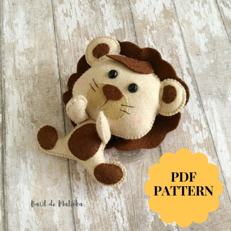 Lion PDF felt pattern Safari Mobile Sewing tutorial Felt Animal Pattern  Safari animal ornament Baby mobile Toy Nursery decor Kids gift Baby