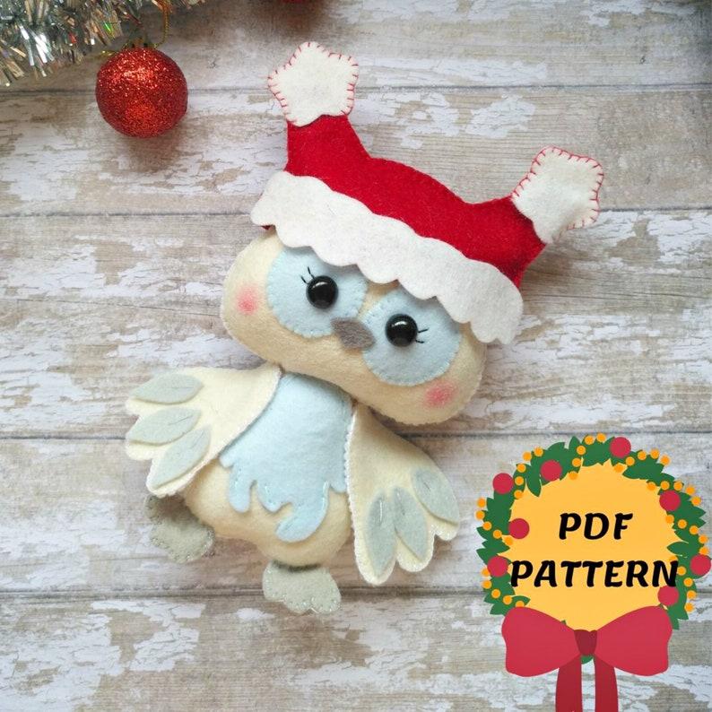 Felt owl christmas ornament Christmas owl decor Felt owl pattern Owl doll felt tutorial Bird PDF pattern Baby mobile owl DIY easy owl toy