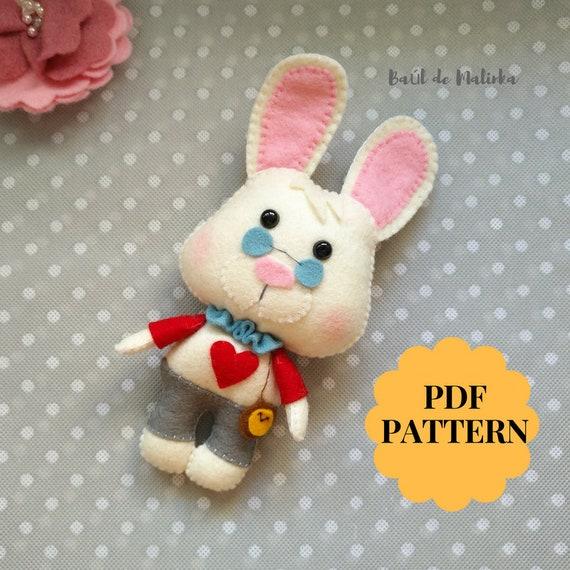 White Rabbit Alice In Wonderland Felt Pattern White Rabbit Etsy