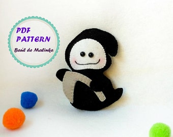 Halloween ghost ornament felt death pattern DIY Halloween Tutorial easy pattern Felt ghost ornament Halloween PDF kids craft  ghost death