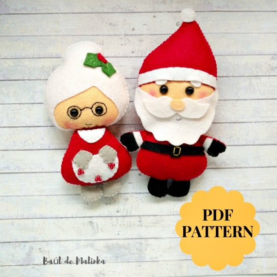photograph relating to Santa Claus Patterns Printable referred to as Santa and Mrs Claus practice Felt Xmas ornaments Santa doll sewing guideline PDF plush habit Softie routine Xmas felt tree decor