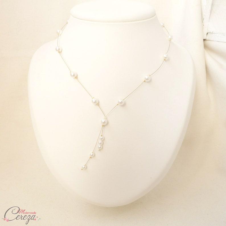 677ffeb4f97 Collier mariée champêtre perles forme V originale