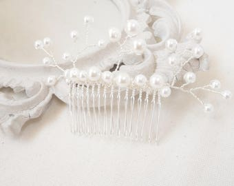 """Romantic bridal hair jewelry comb beads customizable wedding hair comb accessories, Pearl wedding """"Madeline"""""""