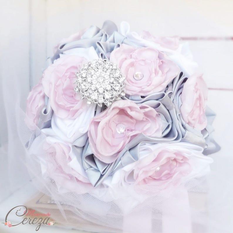 bouquet mariage féérique broche bijou rose poudré gris blanc | etsy