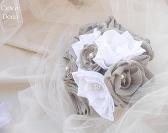 "Raw rustic beige linen fabric wedding bouquet and white satin ""Manon 2"""