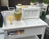 Rustic Wooden Cooler, Bar Cart, Outdoor Beverage Station