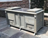 FREE SHIPPING   Double Cooler Cabinet and Double Cooler Tables with Upgrade Options including Granite Inlay, Drawers & Storage Cabinets