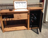 FREE SHIPPING  Outdoor Beverage Bar with Cooler and Mini Fridge