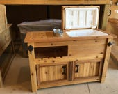 Rustic Wooden Cooler Cabinet is Great for a Man Cave, Outdoor Bar, Serving Buffet, Wedding, House Warming or Graduation Gift
