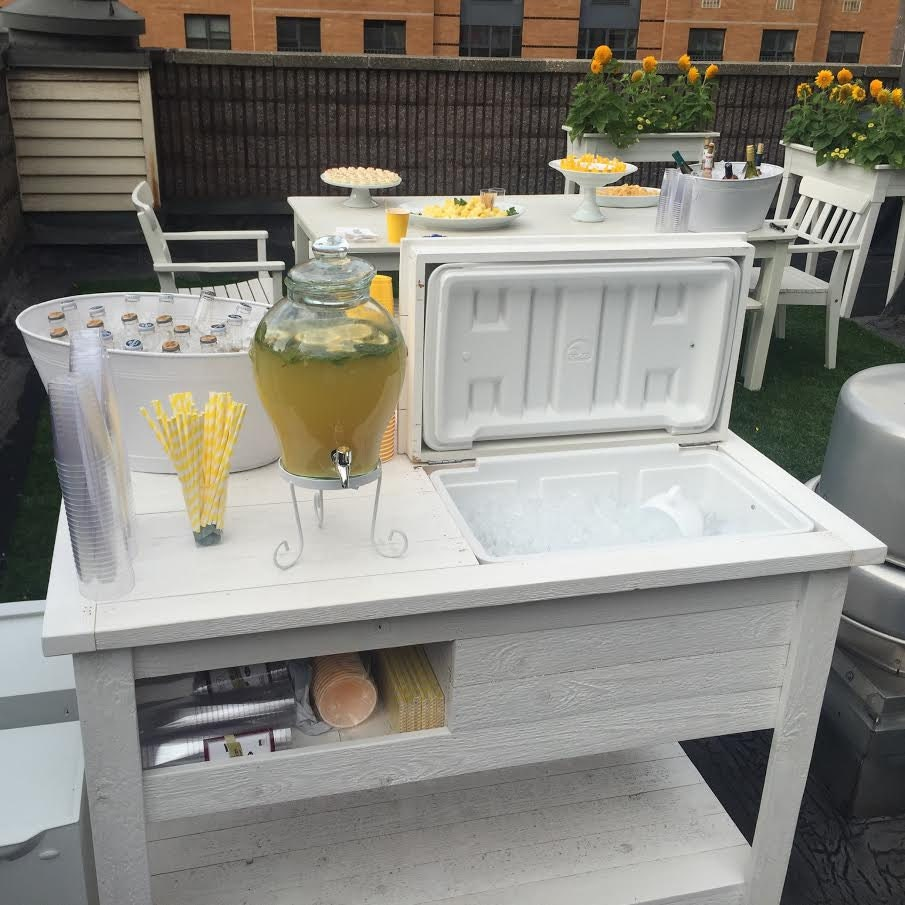Rustic Wooden Cooler Table Bar Cart Wine Bar With Mini Etsy