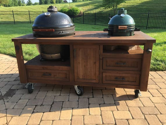 Outdoor Küche Kamado Joe : Dual grill cabinet for kamado joe primo or big green egg etsy
