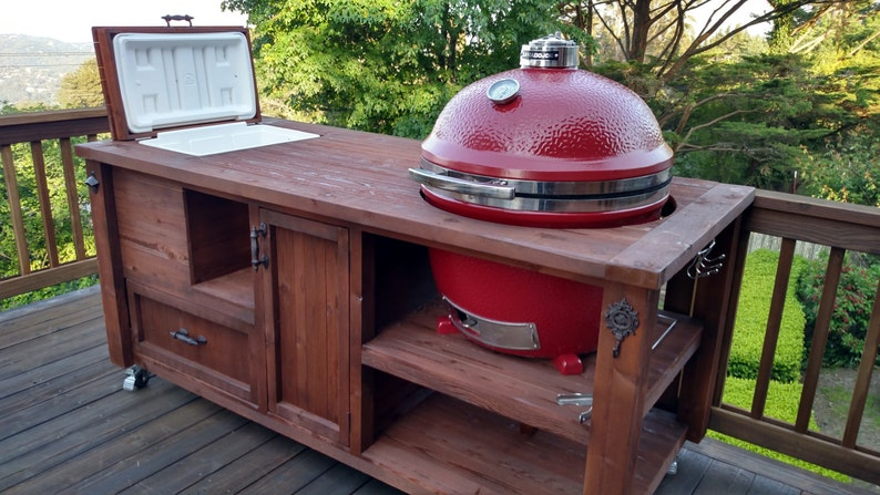 Superbe Grill Table Or Grill Cabinet For Big Green Egg, Kamado Joe, Primo, Gas  Grills   Outdoor Kitchen, Wood Grill Cart, BBQ Cabinet, Beverage Bar
