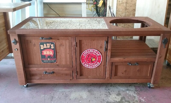 Grill Table & Cabinets w/ Yeti Cooler Drawer - Custom Built for Big Green  Egg, Kamado Joe, Primo, Vision, Built-in Gas Grills