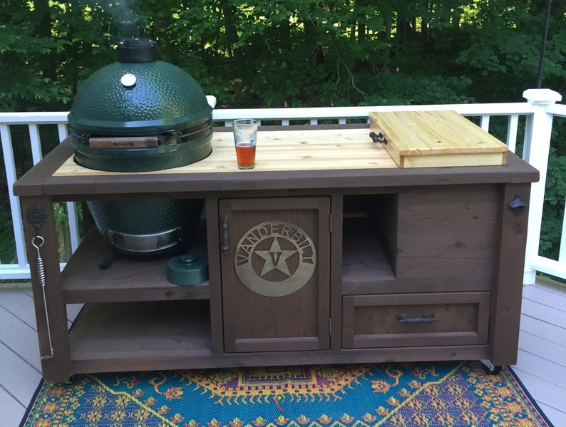 CUSTOM Grill Tables for Kamado Joe, Big Green Egg, Primo and Dual or Gas  grill, Built-in Cooler and optional Butcher Block top