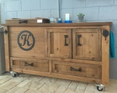 FREE SHIPPING - Rustic Cooler Cabinet and Beverage Bar Cart for Indoor or Outdoor living