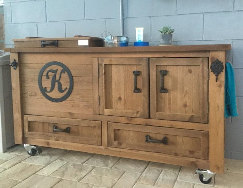 Outdoor Patio Furniture Wooden Cooler Cabinet Rustic Beverage Bar Cart Buffet Sideboard Grilling Prep Custom Island Storage Drawers