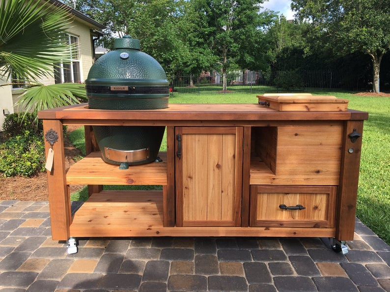 Outdoor Küche Kamado Joe : Custom grill table or grill cart for big green egg kamado etsy