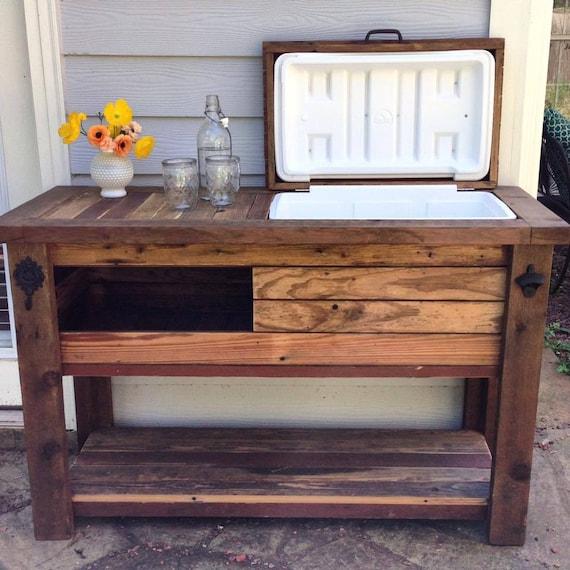 Reclaimed Barnwood Bar Cart Cooler Cabinet Wine Bar Console Etsy - Barnwood bar table