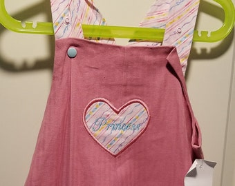 6-9 months and 2T pink herringbone overalls with princess heart applique