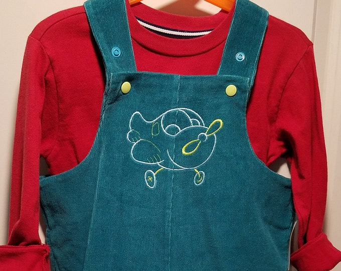 Aqua Corduroy Overalls newborn to size 2T  embroidered airplane