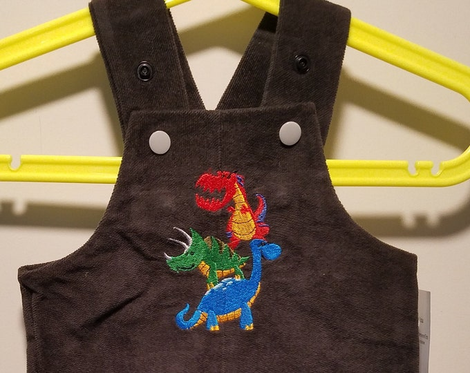 Overalls up to 8LBS Infant embroidered pile of dinosaurs