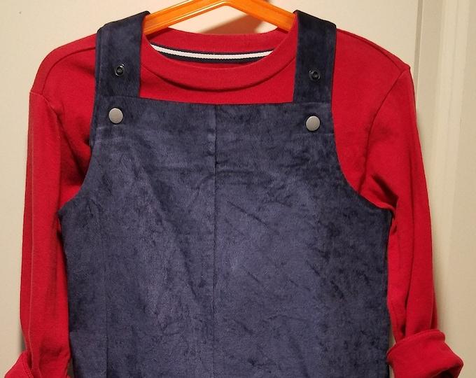 Navy cotton velvet Overalls 2T
