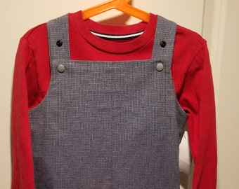 Long Overalls Gray menswear fabric newborn to  2T plain or with custom embroidery
