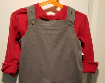 Long overalls brushed gray striped twill can be personalized