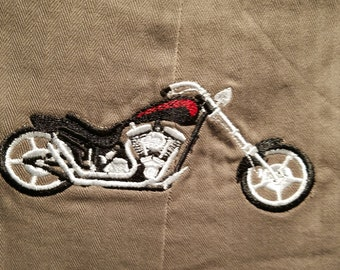 long overalls in gray herringbone with embroidered motorcycle