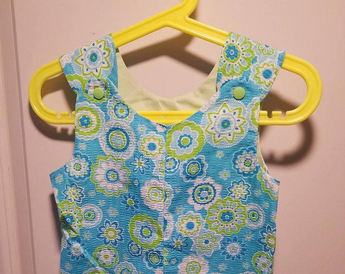 Clearance Short Overalls Aqua searsucker fabrics Size Infant 9-12 Months and 1T