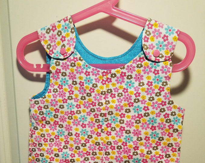 Clearance Short Overalls Aqua and pink daisies Size Infant 9-12 Months