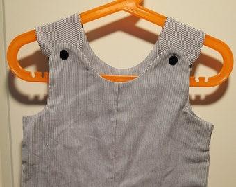 Short Overalls infant and toddler brown, blue, aqua, & white striped newborn, 3m, 6m, 9m, 12m 1T 2T